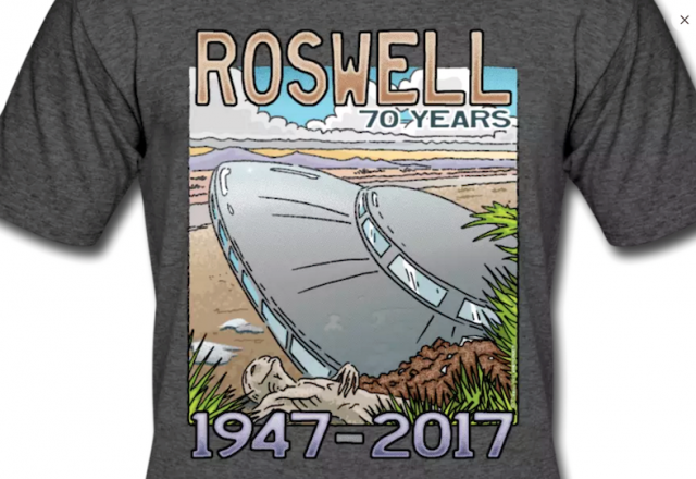 Roswell Saucer Crash Artwork with Alien body.