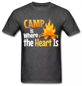 Camp is where the heart is camping t-shirts, slogans.