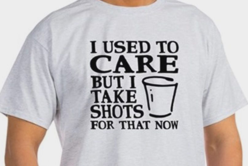 I used to care shot glass booze gift by WindyCinderStudios at CafePress.com