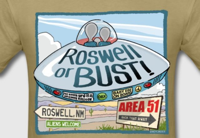Roswell or Bust UFO T-Shirt gift by WindyCinder